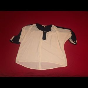 Forever 21 Cream and Navy Zipper Blouse
